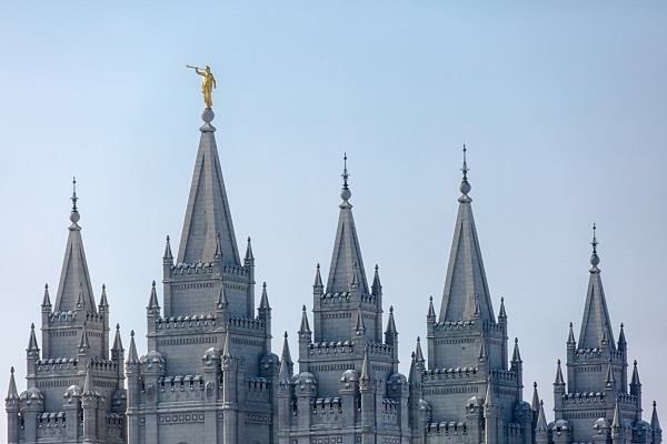 The Mormon Tabernacle in Salt Lake City, the headquarters of the Mormon Religion.