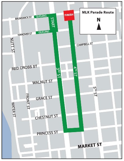 The annual MLK Day Parade will close streets in downtown Wilmington. Use the map, courtesy of the city, to plan your route.