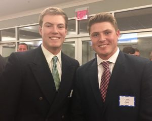 Former teammates at state champions at Topsail High School, Mason Berne, left, and Clark Cota are back on the same team at UNCW.
