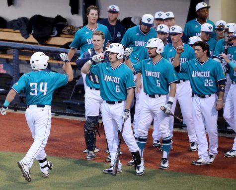 Nick Feight smacked his first home run of the season on Friday. Photo courtesy- UNCW sports