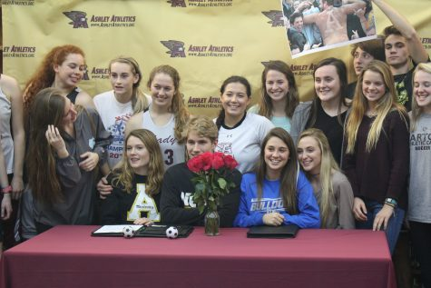 Tess Cairney (Appalachian State) and Kaela Groseclose (Barton College) were surrounded by family and friends for Wednesday's announcement.