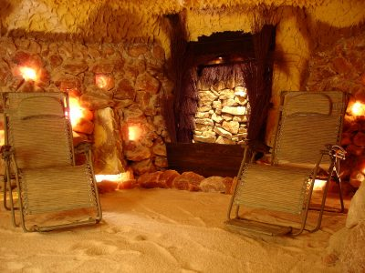 The Williamsburg salt cave is a 400-square-foot room. The space is filled and the walls are lined with more than 15 tons of salt from Poland and Pakistan. (Courtesy of Williamsburg Salt Spa)