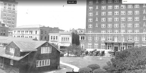 On the far left, the Murchison Building. On the right is the current Cape Fear Hotel Apartments. In the middle, what is now the Copper Penny, and the Friendly Cafeteria and Restaurant. (Courtesy Jennifer Daugherty, Senior Librarian, New Hanover County Library)