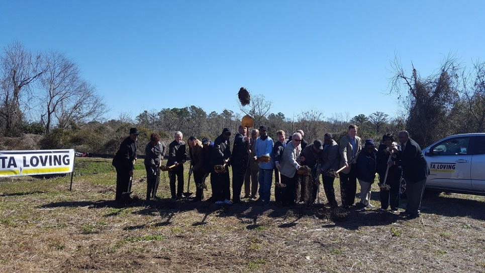 City officials breaking ground on the Love Grove community bridge project. Photo courtesy of the city.