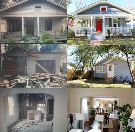 A before and after renovation shot of the Barnett Avenue home. Old photo courtesy of Mari Ann Harvey.