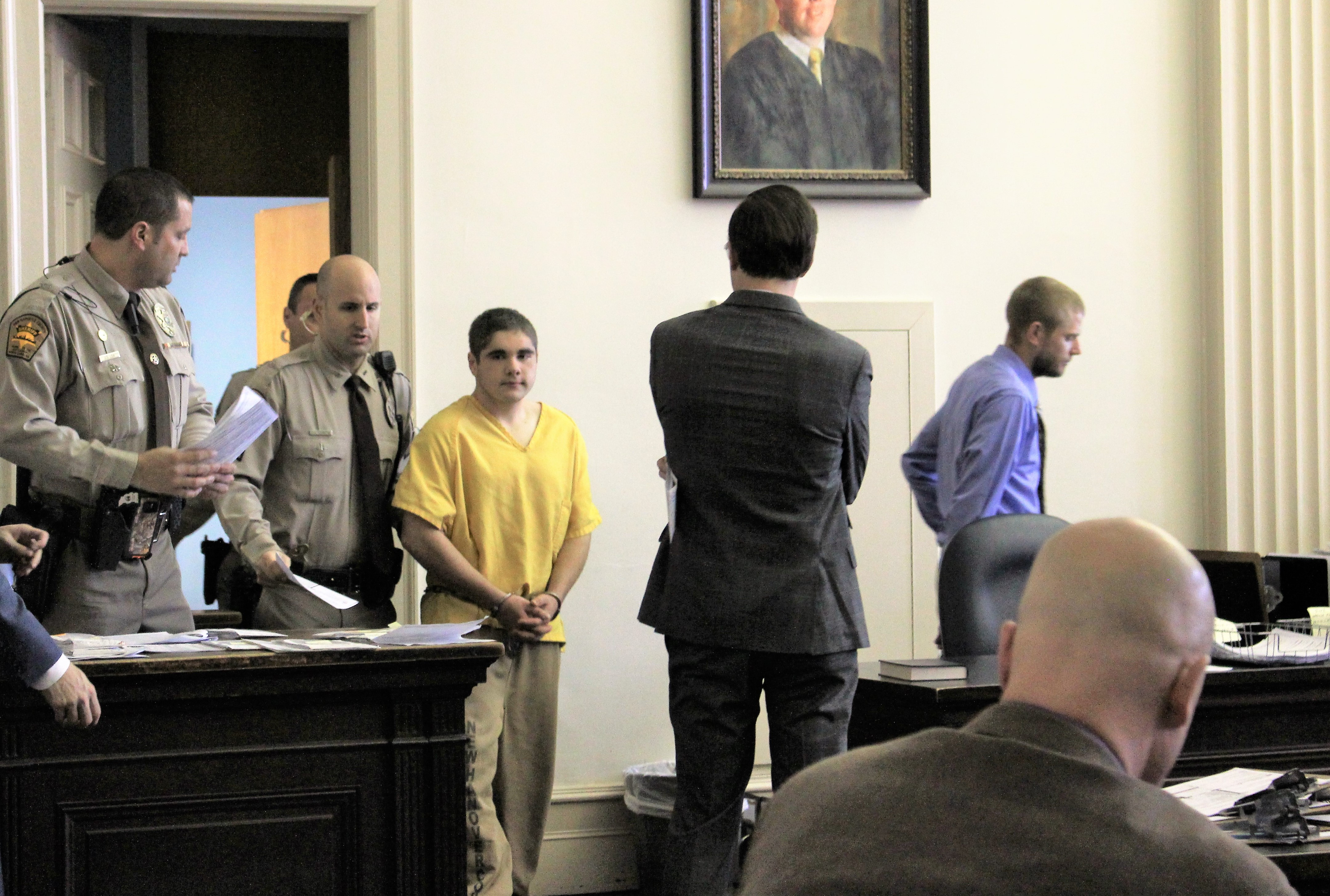 Seventeen year old Khai Ressler made his first appearance in New Hanover County District Court on Monday morning to face a first-degree murder charge. (Photo by Christina Haley)