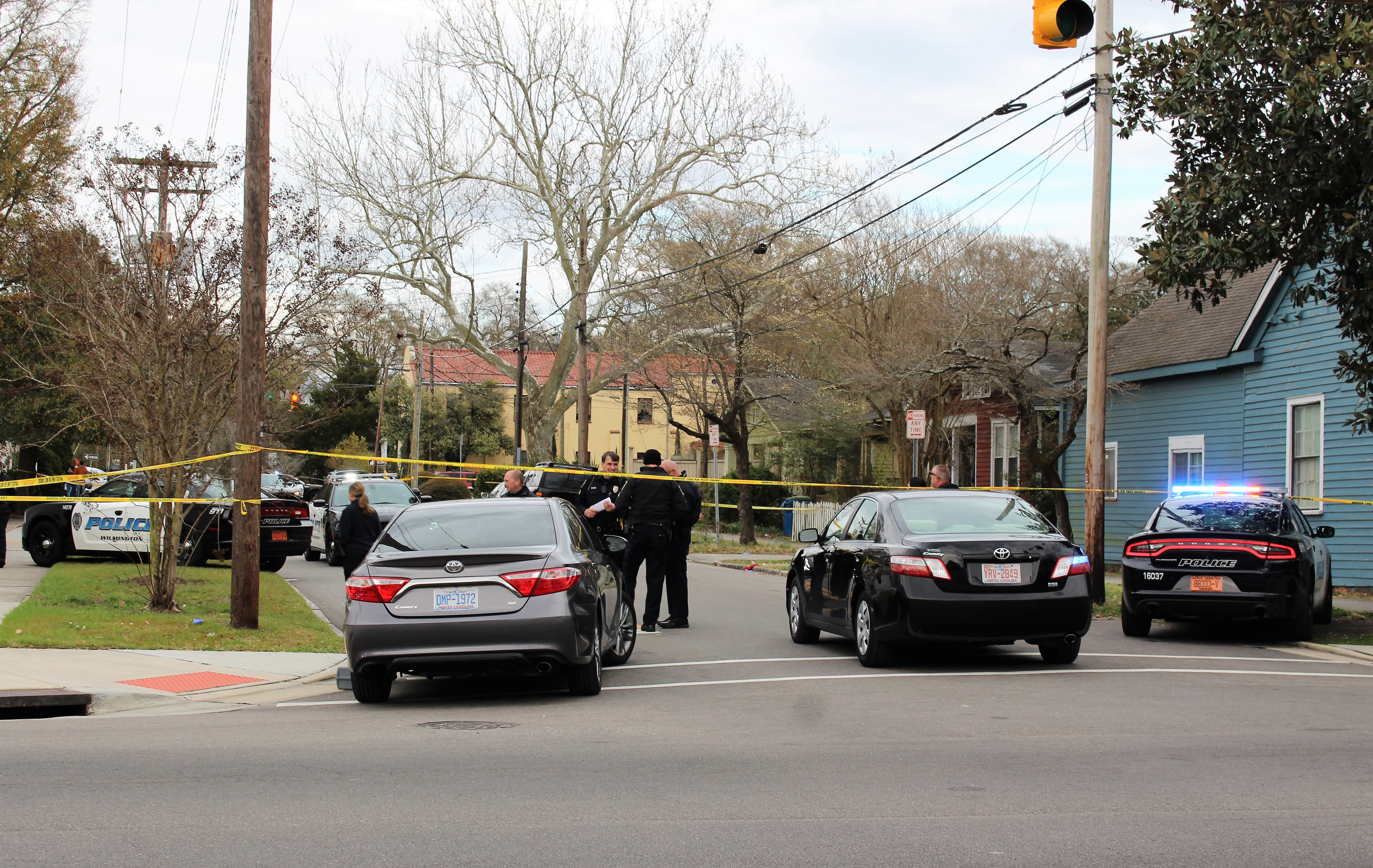 Wilmington police on the scene of a shooting that injured a woman in the area of Wrightsville Avenue and 16th Street. Photo by Christina Haley.
