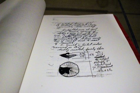A copy of archaeology notes documenting the flush valve found at Russellborough ruins. (Photo by Christina Haley.)