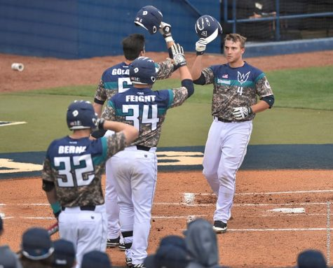 Brian Mims launched his first home run of the season during Saturday's 10-4 win. Photo courtesy- UNCW sports.
