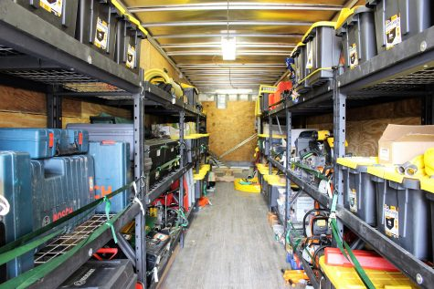 An 18-wheeler trailer carries supplies that search and rescue teams need in the field.