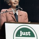"""First Lady Nancy Reagan speaking at a """"Just Say No"""" Rally in Los Angeles, 1987. (Courtesy the U.S. National Archives and Records Administration)"""