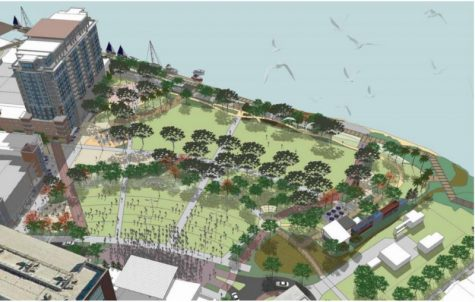 Conceptual drawing of the proposed park, with the venue at the bottom. On the upper left, a proposed hotel and office space that would also provide parking for the downtown area, according to Wilmington's master plan.