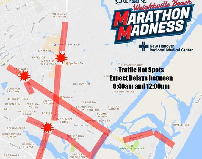 A map of potential traffic hot spots for this weekend's marathon. Photo courtesy- Quintiles Wrightsville Beach Marathon.
