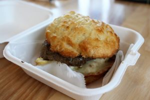 Homemade sausage, egg, and provolone cheese, served on a made-from-scratch biscuit. (Port City Daily photo/CORY MANNION)