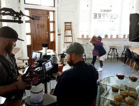Lighthouse Films Creative Director Ben Coffman and Alan Swanson, camera operator, on the set of a recent shoot for Bespoke Coffee & Dry Goods. (Photo Lighthouse Films)