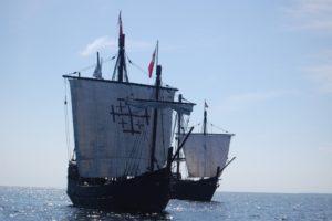 The Niña and Pinta out to sea. (Port City Daily photo/COURTESY WILMINGTON HARBOR ENHANCEMENT TRUST)