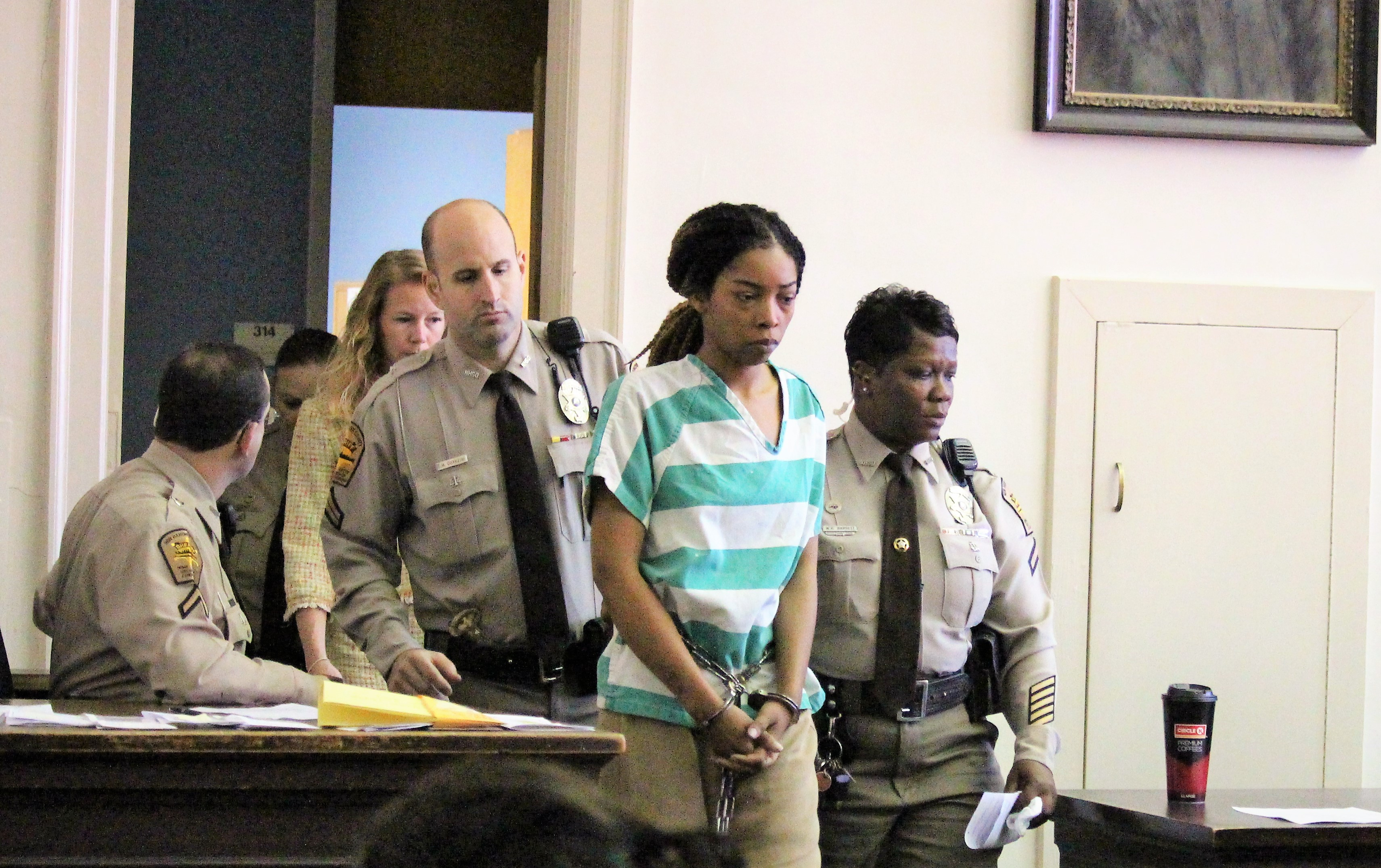 Traneta Campbell made her first appearance in New Hanover County District court, for the fatal April 1 shooting of Catherine Ballard in the parking lot of Independence Mall. (Photo by Christina Haley.)