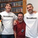 Miracle League of Wilmington player Craig Lendino visited 98.3 FM The Penguin on Friday. Joining him for a photo were afternoon on-air hosts Beau Gunn (left) and Eric Miller. (Port City Daily photo/COURTESY ERIC MILLER)