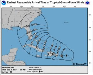 Update Latest Hurricane Irma Predictions Shows Path Toward - Us weather service map
