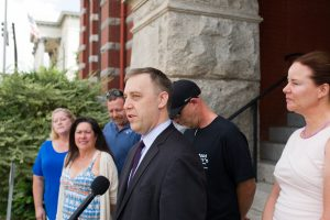 Managing Attorney for the Institute for Justice Justin Pearson announces a lawsuit against the Town of Carolina Beach and its Town Council on behalf of several food truck owners in Wilmington on Tuesday morning. (Port City Daily photo | Mark Darrough)