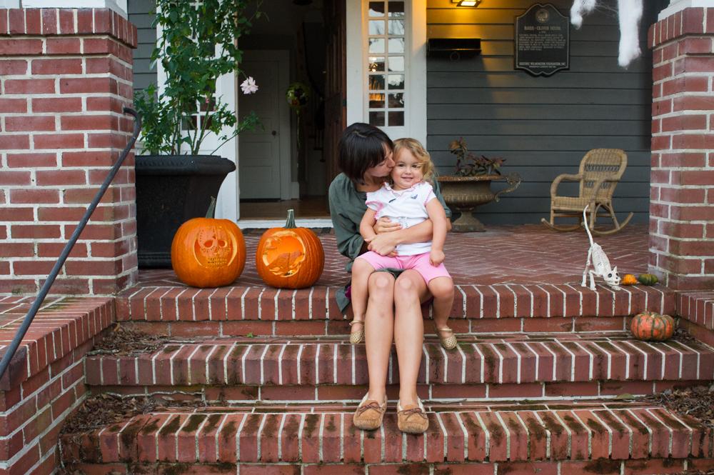 The fall colors of Halloween gave way to spooky, narrow streets as a near-full moon rose above Carolina Place Tuesday night. (Port City Daily photo / Mark Darrough)