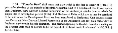 """The 2002 covenant specifies when Telesis was legally obligated to """"transfer"""" the HOA to a residents' board. (Port City Daily photo / New Hanover County Register of Deeds)"""