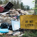 A large pile of debris at off N.C. 53 and Cape Fear Drive, just outside Burgaw, in October. (Port City Daily photo/Mark Darrough)