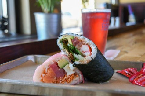Giant, yet reasonably affordable, the sushi at Roll On is more burrito than California roll, and can be delivered throughout New Hanover County. Plus, wine and beer, if you're in the mood. (Port City Daily photo / Courtesy Roll On In)