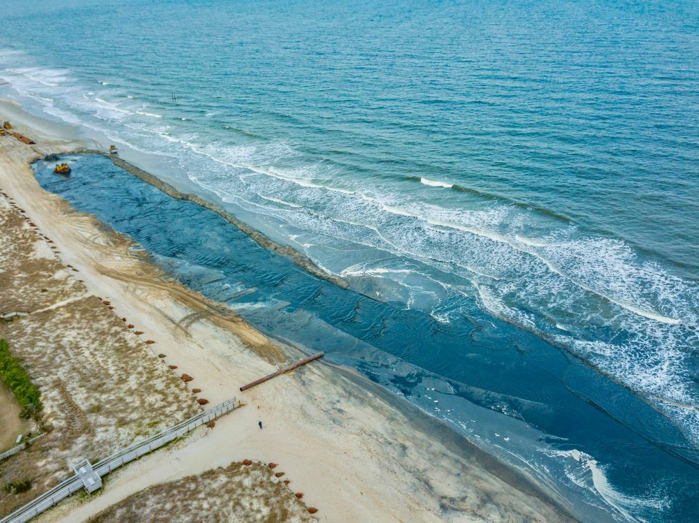 Beach nourishment is currently happening in Carolina Beach, Clouds View Photography managed to get some photos from above to capture the process (Port City Daily/Courtesy Clouds View Photography)