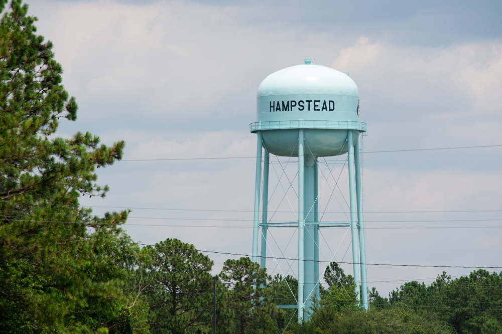 One of two water tanks supplying the Hampstead area that ran dry over Memorial Day Weekend, when the county's water capacity reached 97 percent. (Port City Daily photo/Mark Darrough)