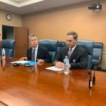 New Hanover County Manager Chris Coudriet (left) and NHRMC President and CEO John Gizdic. (Port City Daily photo / Benjamin Schachtman)