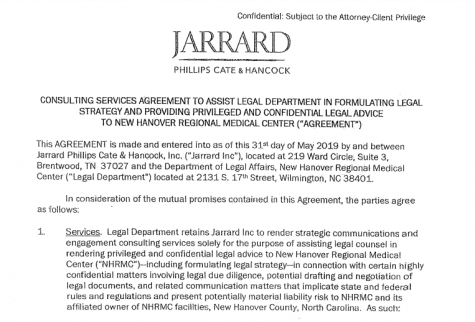 From Jarrard's initial contract with NHRMC. (Port City Daily photo / NHRMC)