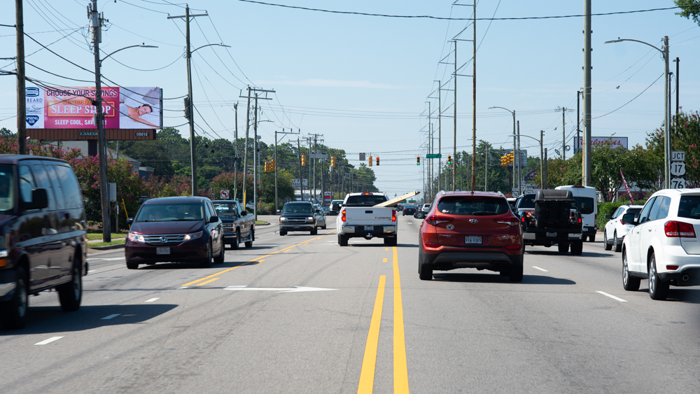 College Road just north of its intersection with Oleander Drive late Friday morning. (Port City Daily/Mark Darrough)
