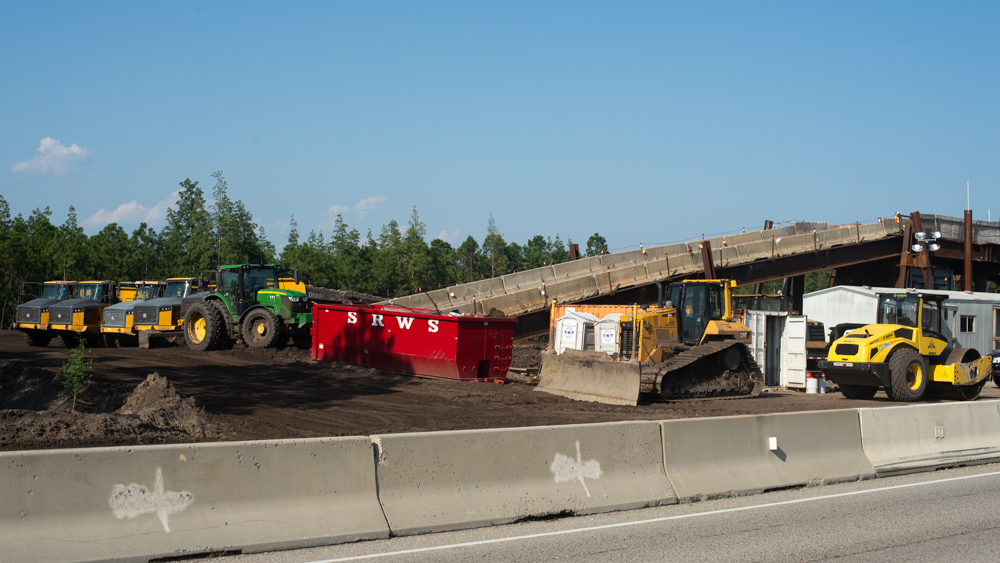 Construction off the I-140 Wilmington Bypass to connect the ongoing Military Cutoff Extension Project to the future Hampstead Bypass. (Port City Daily/Mark Darrough)