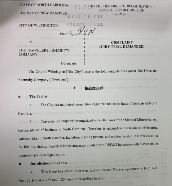City of Wilmington suing its insurance company to recover $7