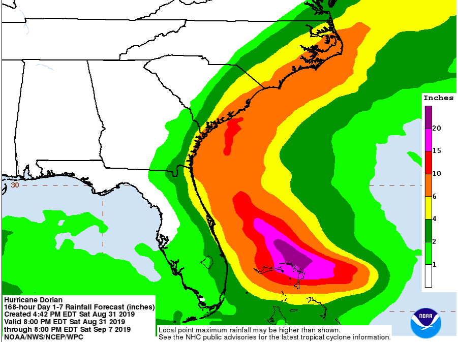 Potential rainfall for the area according to NOAA's early predictions
