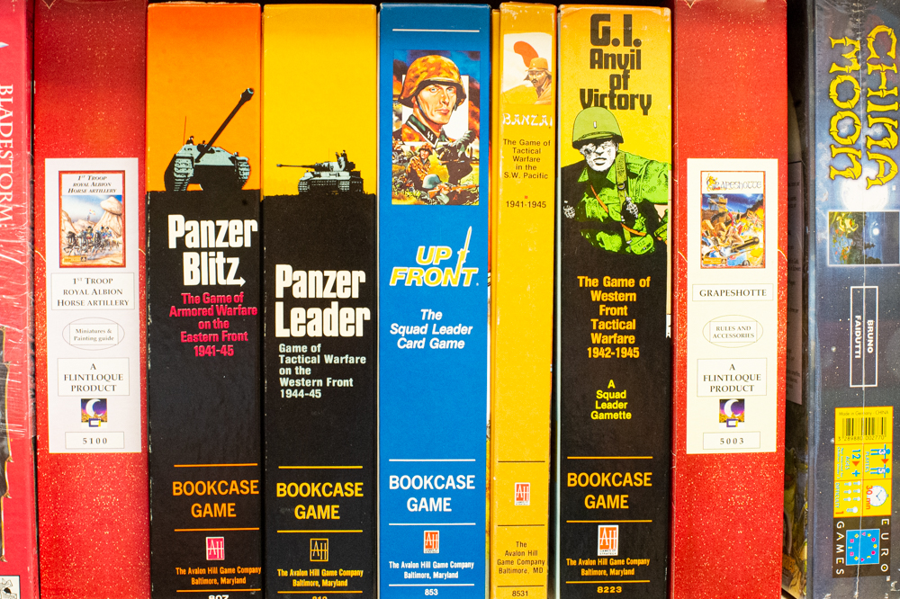 A collection of 1970s and 1980s board and card games, from Panzer Blitz on the left to G.I. Anvil of Victory on the right, is valued at $260. (Port City Daily photo/Mark Darrough)