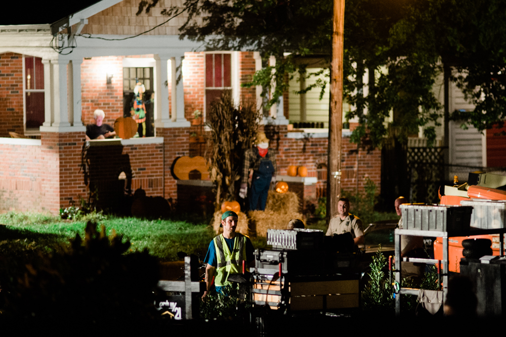 Crew members prepare to shoot a scene of the 'Halloween' sequel on Pender Avenue Friday night. (Port City Daily photo/Mark Darrough)