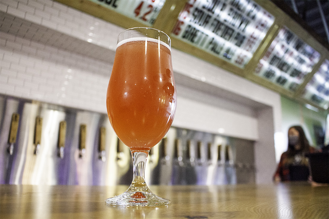 Hi-Wire Brewing's pink lemonade is among one of its best-selling brews, one of dozens available at its new Wilmington taproom. (Port City Daily photo/Johanna F. Still)