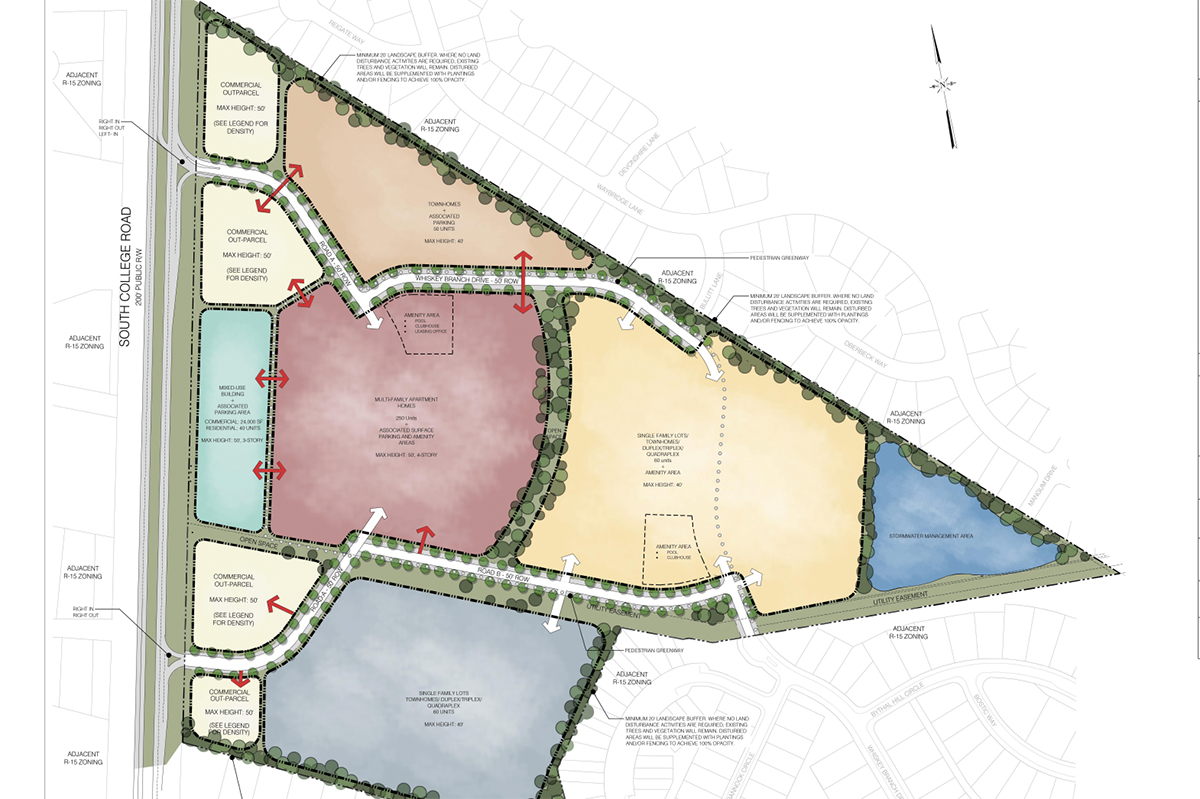 Plans for Whiskey Branch include a mixed use building, apartments, single-family homes, and office and retail space located off South College Road. (Port City Daily photo/Courtesy New Hanover County)