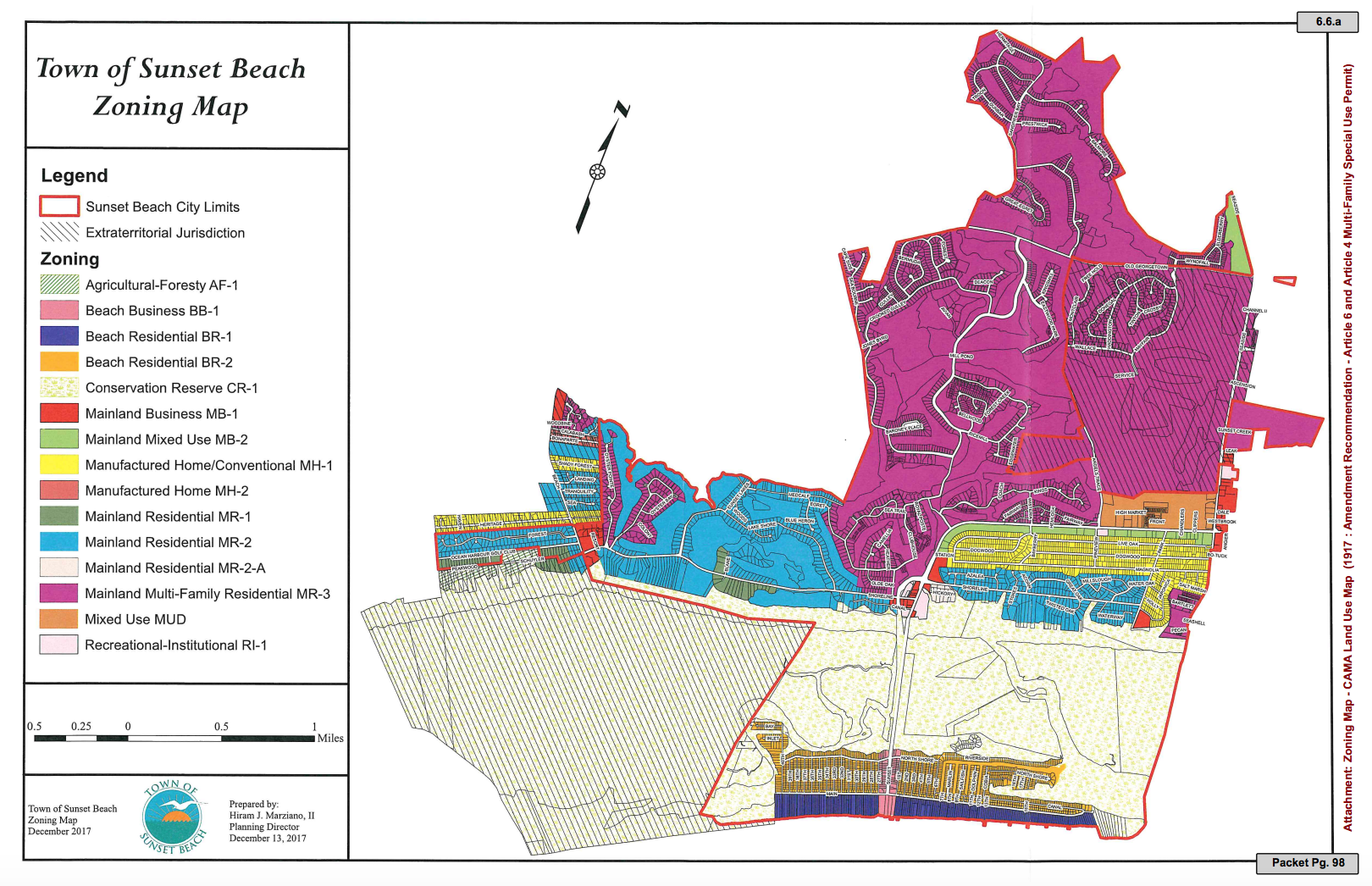Multi-family developments in MR-3, the town's most prolific zoning district (shown in pink), now require special use permits. Before, they were permitted by right. (Port City Daily photo/Courtesy Town of Sunset Beach)