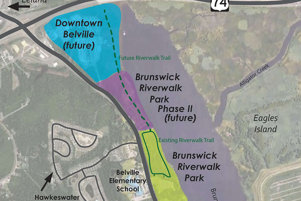 The Town of Belville Vision 2030 plan focuses on redeveloping the downtown area and possibly extending the Brunswick Riverwalk Park further north along the Brunswick River. (Port City Daily photo/Courtesy Town of Belville)