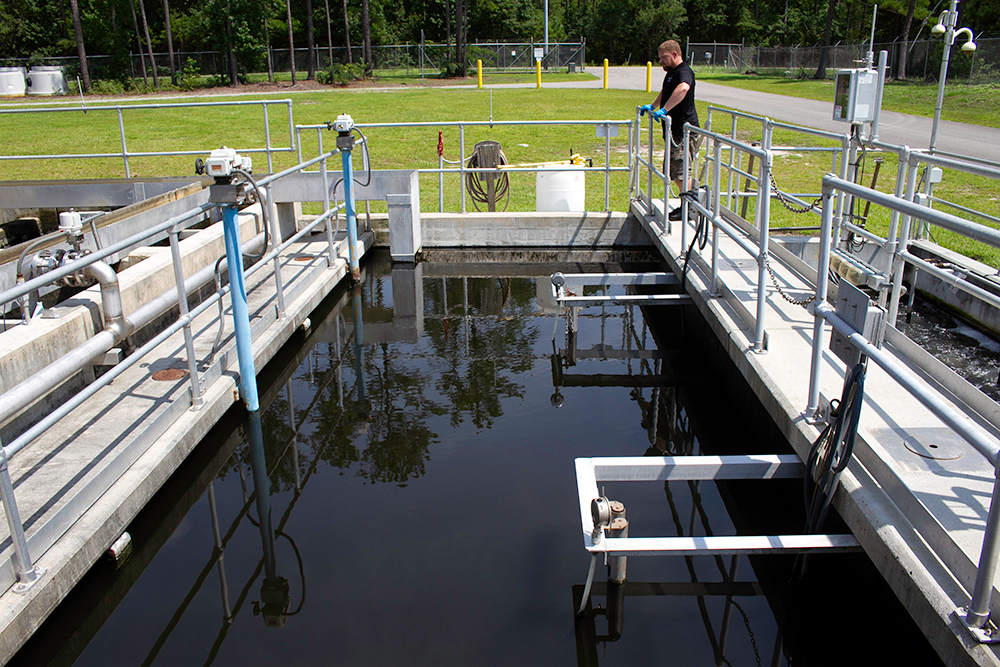 Brian Griffith, H2GO's wastewater plant superintendent, said in 2019 the Belville plant was operating at full capacity. (Port City Daily photo/Johanna F. Still)