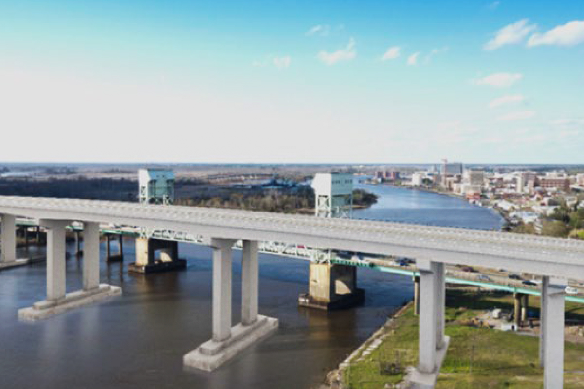 A private developer has proposed replacing the Cape Fear Memorial Bridge with a 135-foot high-rise and introducing a tolling system. (Port City Daily photo/Courtesy WMPO)