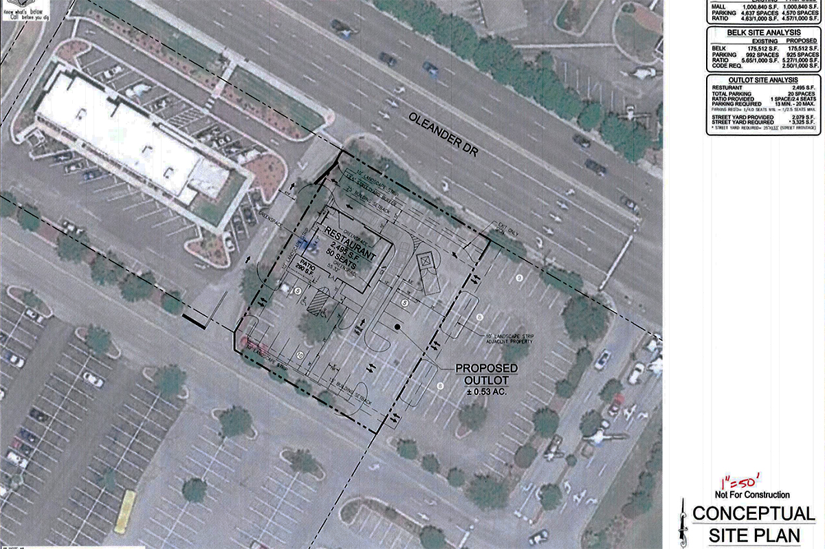 Plans include subdividing the parent 12-acre Belk lot to create a new 0.5-acre parcel for a restaurant fronting Oleander Drive next to Moe's Southwestern Grill. (Port City Daily photo/Courtesy City of Wilmington)